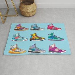 Colorful Sneaker set illustration blue illustration original pop art graphic print Rug
