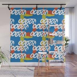 Geometrical abstract blue orange yellow watercolor Wall Mural