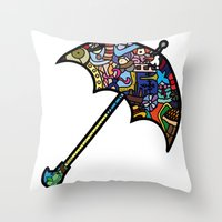 mary poppins Throw Pillows featuring Mary Poppins by Ilse S