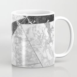 Modern abstract black white silver geometric marble Coffee Mug