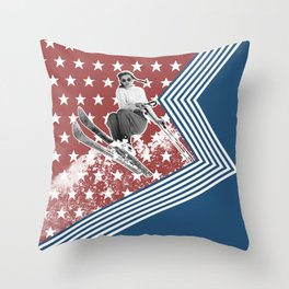 Ski like a Girl for USA Throw Pillow
