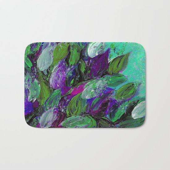 BLOOMING BEAUTIFUL 1 - Floral Painting Mint Green Seafoam Purple White Leaves Petals Summer Flowers Bath Mat