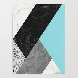 Black and White Marbles and Pantone Island Paradise Color Poster