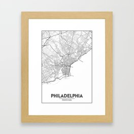 Minimal City Maps - Map Of Philadelphia, Pennsylvania, United States Framed Art Print