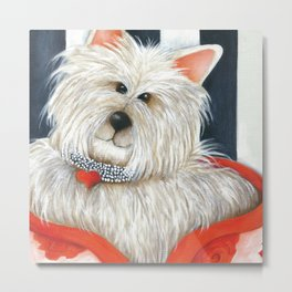 Dog Westie Terrier Original painting Deb Harvey Art Rose Metal Print