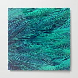 Teal Feathers Metal Print