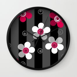 Crimson and white flowers on a black striped background Wall Clock