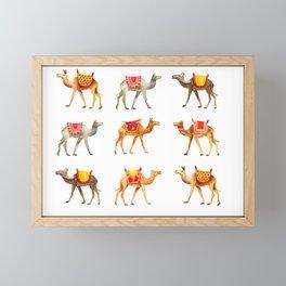 Cute watercolor camels Framed Mini Art Print