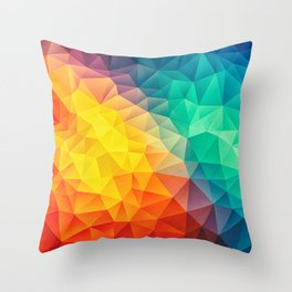 Abstract Multi Color Cubizm Painting Throw Pillow