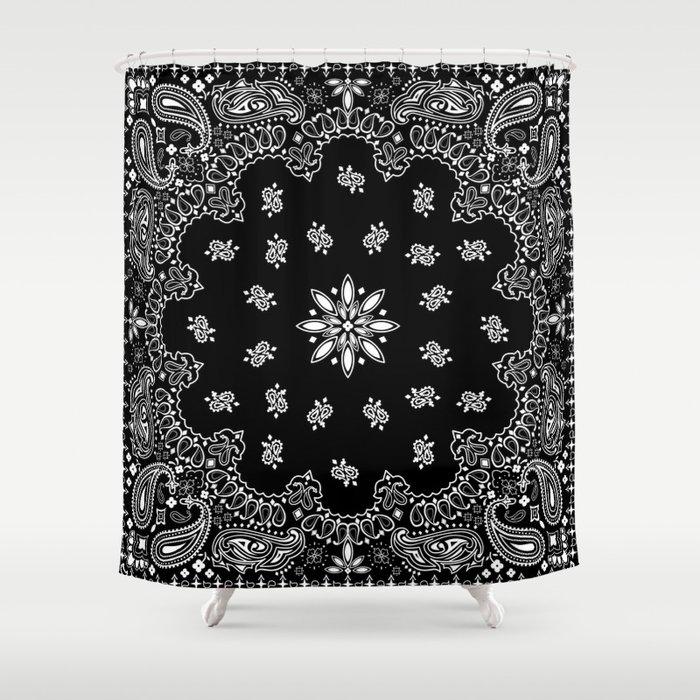black and white bandana pattern Shower Curtain by martaolgaklara ...