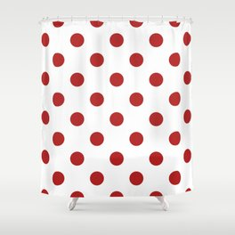 Polka Dots - Firebrick Red on White Shower Curtain