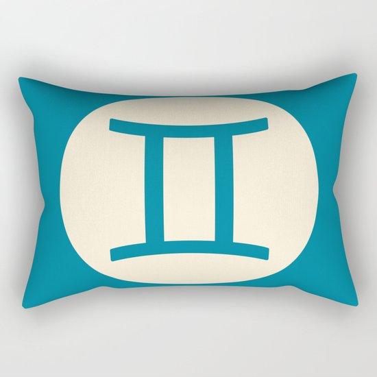 Gemini Symbol Blue Rectangular Pillow