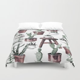Happy Potted Cacti in Rose Gold Pots Duvet Cover