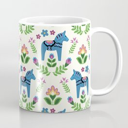 Swedsh Dala Horses Blue Coffee Mug