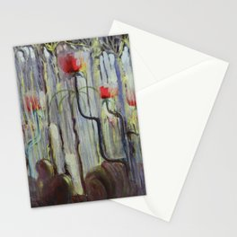 Red Poppies - View of the World Creation of the World No. IX by Mikalojus Konstantinas Ciurlionis Stationery Cards