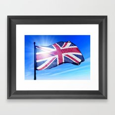 The British flag waving on the wind Framed Art Print