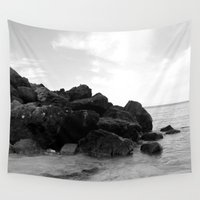 rocky Wall Tapestries featuring Rocky Shore by Shiroshi