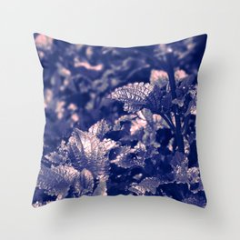 Soft Leaves in Blue/ Cheekwood Gardens Throw Pillow