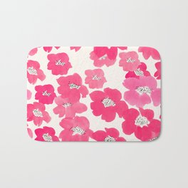 Camellia Flowers in Pink Bath Mat