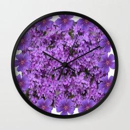 WHITE  LILAC PURPLE SPRING PHLOX FLOWERS GARDEN Wall Clock