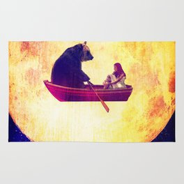 bear in the moon Rug