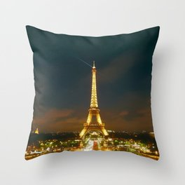 France Photography - Shooting Star Behind The Lit Up Eiffel Tower Throw Pillow