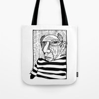 pablo picasso Tote Bags featuring Pablo Picasso by Benson Koo