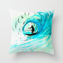 Surfer in blue Throw Pillow