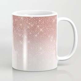 Girly Faux Rose Gold Sequin Glitter White Ombre Coffee Mug