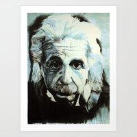 einstein Art Prints featuring Einstein by Olivia Potts Art