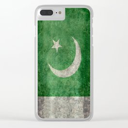 Pakistani flag, vintage retro style Clear iPhone Case