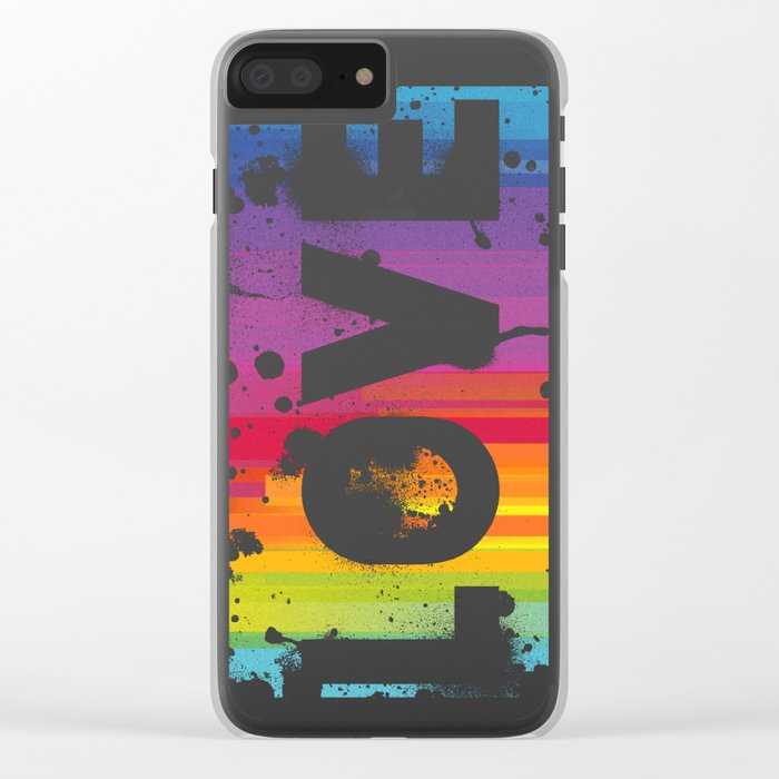 For Love - Black Background Clear iPhone Case