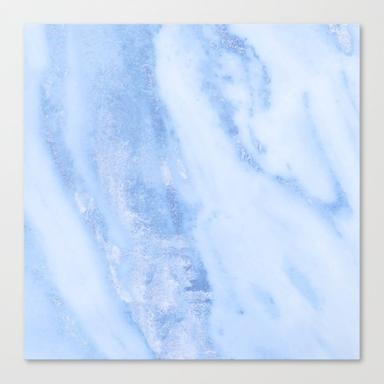 Shimmery Pure Cerulean Blue Marble Metallic Canvas Print