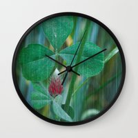 clover Wall Clocks featuring Clover by Christine baessler