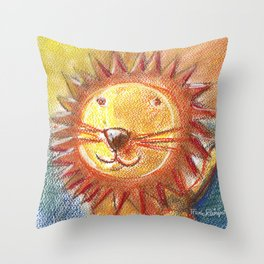 Lion For Children Pastel Chalk Drawing Throw Pillow