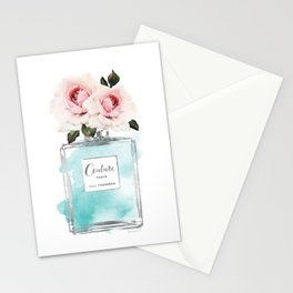 Perfume, watercolor, perfume bottle, with flowers, Teal, Silver, peonies, Fashion illustration, Stationery Cards