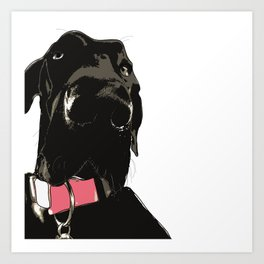Black Great Dane Dog Art Print