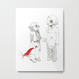 Pufferfish - Holding Hands Metal Print