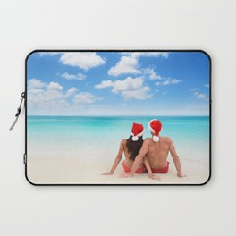 Christmas beach vacation couple relaxing in santa hats on Caribbean holidays Laptop Sleeve