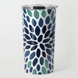 Flower Bloom, Aqua and Navy Travel Mug