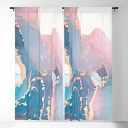 Luxury abstract painted teal, turquoise, pink and white texture with elegant gold veins Blackout Curtain