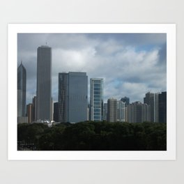 Chicago Skyline, Cloudy Day in Chicago Art Print