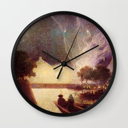 Fireworks over the Port landscape painting by Ferdinand Du Puigaudeau Wall Clock