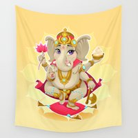 ganesh Wall Tapestries featuring Ganesh by Danilo Sanino