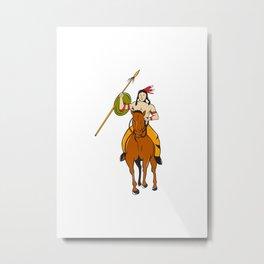 Native American Indian Brave Riding Pony Cartoon Metal Print