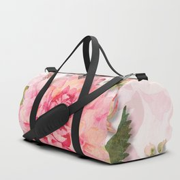 Pink Watercolor Dahlia Blossom Duffle Bag