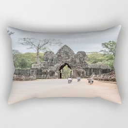 Angkor Thom South Gate with Tourists on Bikes, Cambodia Rectangular Pillow