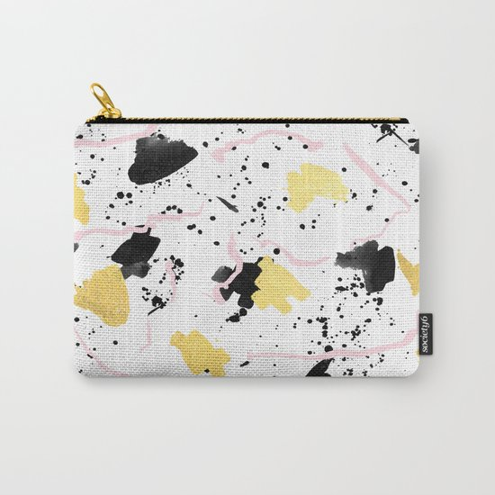 Raye - gold bright black and white minimal modern abstract painting ink texture foil hipster urban Carry-All Pouch