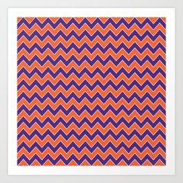 Orange and purple clemson chevron stripes university college alumni football fan gifts Art Print