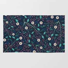 Dense Flora Midnight Rug